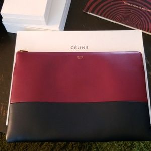 CÉLINE large solo pouch bicolor plum and blue